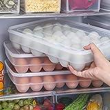 Juleya Soporte para Huevos - Transparente apilable 34 Huevos Recipiente con Tapa para frigorífico Gran Capacidad contenedor de Almacenamiento Caja