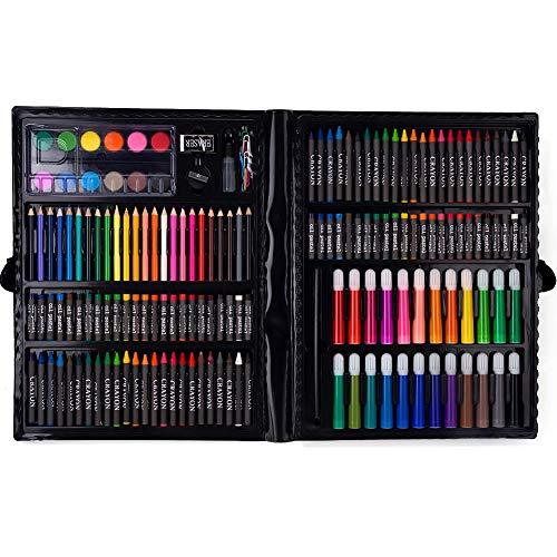 Watercolor Set 168pcs Crayon Oil Pastel Color Pencil Watercolor Cake Pencil Sharpener Plastic Palette Eraser Glue for Painting Drawing