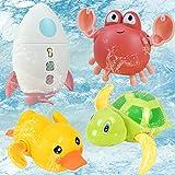 BOYATONG 4 Stück Kinder Badespielzeug,Kinder Badewanne Spielzeug,Schwimmen Bade Pool Spielzeug,Uhrwerk Schildkröte,Krabbe,Rakete,Ente Schwimmbad Spielzeug für Kleinkinder Jungen Mädchen