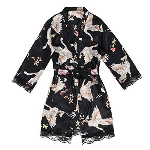 Corlidea Damen Morgenmantel Kimono Satin Robe Kurze Nachtwäsche V Ausschnitt Bademantel Mit Gürtel Kimono Robe für Hochzeit Party Pool Party und Pajama Party