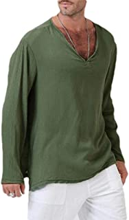 Comaba Men Long Sleeve Tribal Vee Pure Color Linen Casual Tunic Top T-Shirt