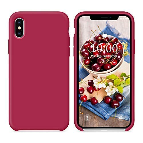 SURPHY Cover Compatibile con iPhone XS, Cover Compatibile con iPhone X, Custodia per iPhone X XS Silicone Slim Cover Antiurto con Fodera in Microfibra, Protettiva Case per iPhoneX XS 5.8',Porpora