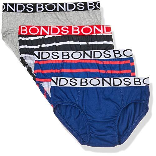Bonds Boys Underwear Brief (4 Pack), Blue and Red, 8/10