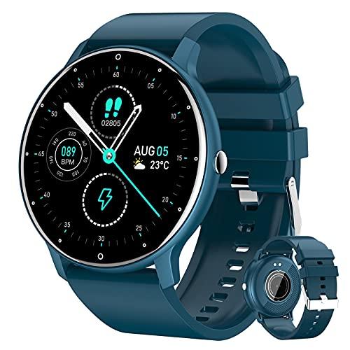 HQPCAHL Relojes Inteligente Hombre Smartwatch con Llamadas Pulsómetro Presión Arterial, Monito De Sueño,Podómetro Pulsera Reloj Impermeable para Android iOS,Azul