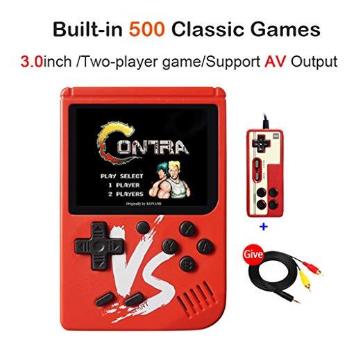planuuik 2019 Nueva Consola de Juegos portátil Retro Mini 8 bits 3.0 Pulgadas Reproductor de Juegos portátil Handeld 500 Juegos incorporados Consola de Videojuegos Rojo