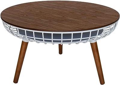 Massa Round Wood Coffee Table - Walnut & White