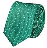 Fabio Farini – Slim cravatta uomo di alta qualità setosa da 6 cm di larghezza con puntini per ogni occasione verde bianco
