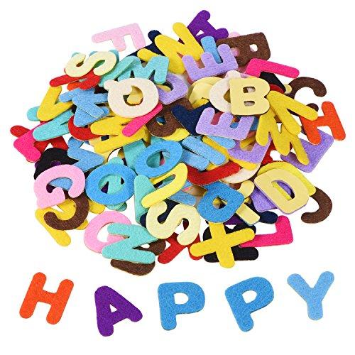 Shappy 1 Pollice Adesivi Feltro Alfabeto Autoadesive Lettere Sticker per Mestiere di Ornamenti Fai da Te, Colori Assortiti, 500 Pezzi