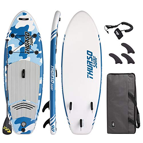 THURSO SURF Prodigy Junior Kids Inflatable SUP Stand Up Paddle Board 7'6 x 30'' x 4'' Two Layer Includes Adjustable Carbon Shaft Paddle/3 Fins/Leash/Duffle Bag/NO Pump Included (2019 Blue)