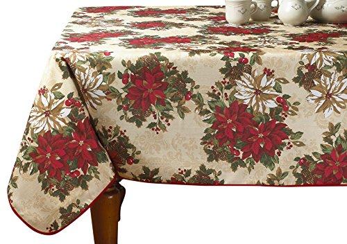 Violet Linen Decorative Christmas Snowflakes Design Tablecloths 60 Round EURO SESN SNOTC
