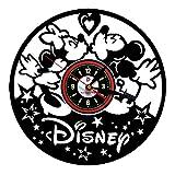 Meet Beauty Ding Horloge Murale en Vinyle Mickey Mouse Disney Noël créatif et Cadeau pour Enfant -Fait à la Main-Décoration Unique pour l'art à la Maison (Rond Noir de 30 cm)