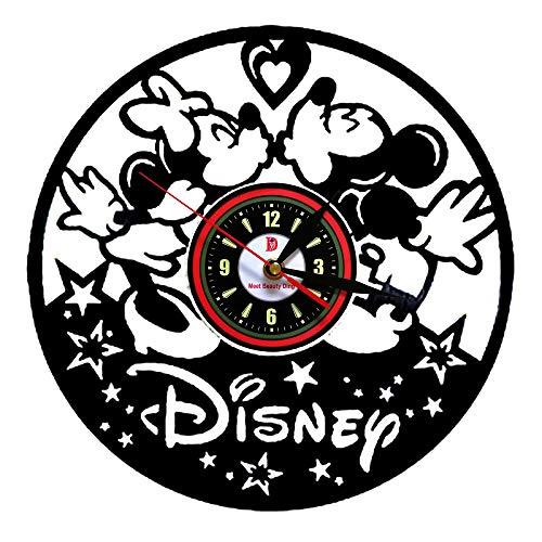 Meet Beauty Ding Carino Orologio da Parete Mickey Mouse Disney in Vinile - Incredibile Regalo Fatto a Mano per Natale Halloween e Camera dei Bambini