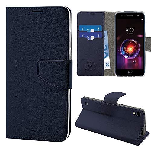 N NEWTOP Cover Compatibile per LG X Power (K220), HQ Lateral Custodia Libro Flip Chiusura Magnetica Portafoglio Simil Pelle Stand (Blu)