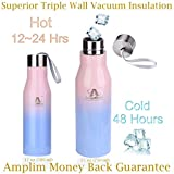 Amplim Triple Wall Vacuum Insulated Stainless Steel Sports Water Bottle. Ice Cold for 48 Hours! FDA Approved Food-Grade Materials, BPA Free, Eco-Friendly Travel Flask. 25 oz Blue Pink