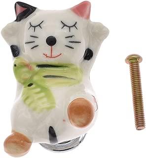 Lychee Vintage Ceramic Cat Handle Vintage Wardrobe Door Handle Cabinet Drawer Pull Knob