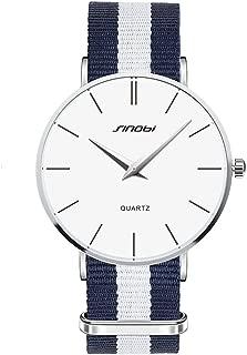 ToFuture Drive Travel Fashion Men/Women Unisex Stripe Nylon Band Quartz Watch 30M Waterproof Silver