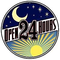 オープン24時間ラウンドメタルティンサイン壁アートリビングルームヴィンテージアートコーヒーバー看板家の装飾ギフト装飾
