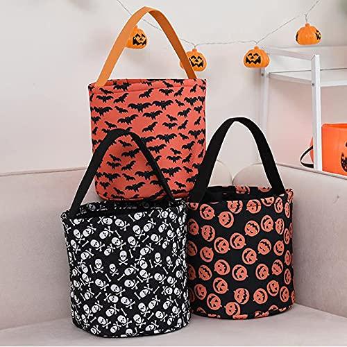 QIXIAOCYB 3 bolsas de Halloween para transportar bolsas dulces o amargas, bolsas de regalo para fiestas, bolsas de juguetes para niños, Halloween, fiestas, varios colores (color: multicolor)