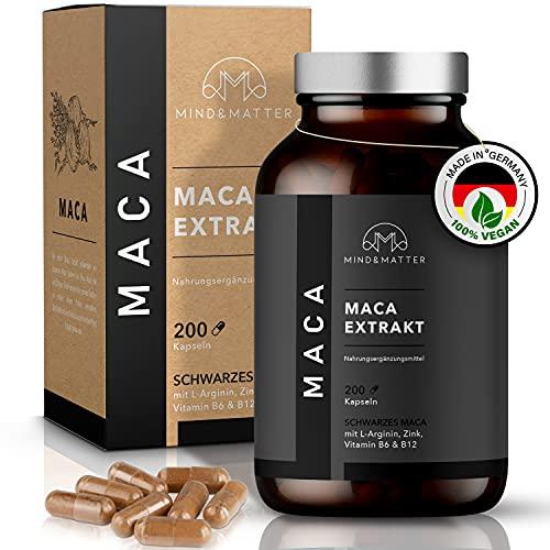 MIND&MATTER © Premium Maca Kapseln – [200] Stk. à [400]mg hochdosiert – [1.200]mg Maca Extrakt [20:1] entspricht [24.000]mg Maca Pulver – Mit [L-Arginin] [Zink] [B6] & [B12] – Ohne Zusätze