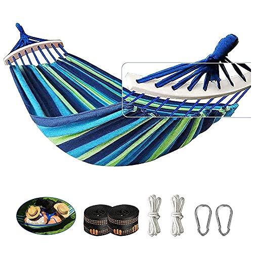 Yuxuan store Doppel hängematte Outdoor Hängematten mit Holzstäben und Tragetasche für Camping Wandern Garten, tragbar und atmungsaktiv, Blaue Streifen