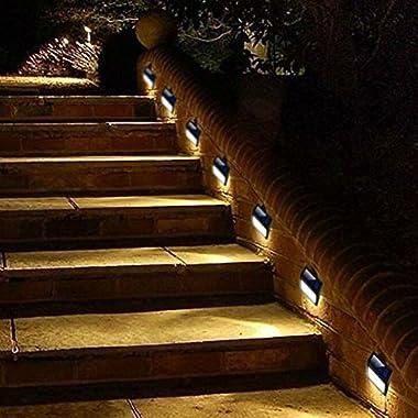 Solar step deck lights, LED Light Wall Mount Garden Path Lamp stair Lights Outdoor Patio Fence Lighting,4 pack, Warm Light