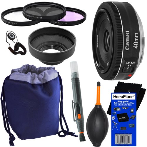Canon EF 40mm f/2.8 STM Pancake Lens for Canon EOS 7D, 60D, EOS Rebel SL1, T1i, T2i, T3, T3i, T4i, T5i, XS, XSi, XT, & XTi Digital SLR Cameras + 10pc Bundle Deluxe Accessory Kit w/ HeroFiber Ultra Gentle Cleaning Cloth
