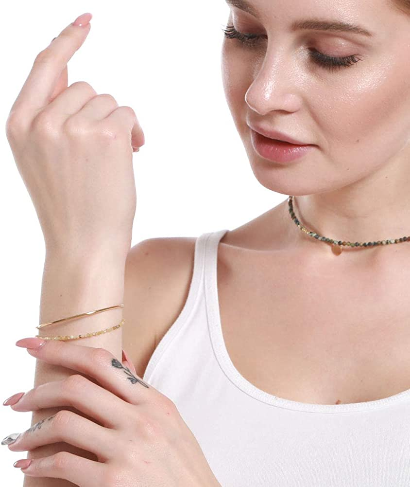 Cddos Open Cuff Bracelets with Natural Stones 14K Gold for Women 2.5