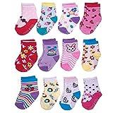 Yafane 12 Pares de Calcetines Antideslizantes para Niños Pequeños Algodón Lindo con Puños Calcetines Antideslizantes para Bebés (Niñas, 1-3 años)