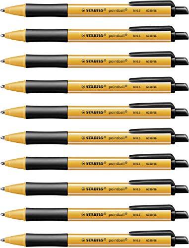 Druck-Kugelschreiber - STABILO pointball - 10er Pack - schwarz