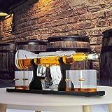 KKTECT Juego de Decantador de whisky con piedra de hielo, juego de 4 tazas de cristal y 1 taza de piedra de whisky en soporte de madera cl├бsico para vino, brandy, bourbon, escoc├йs