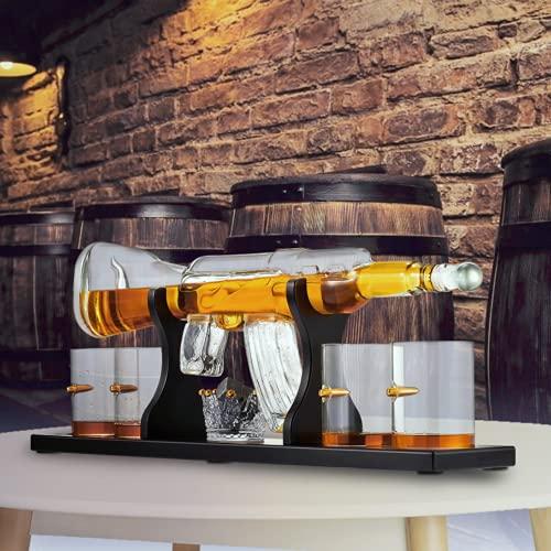 KKTECT Set di decanter per whisky con pietra di ghiaccio, 4 tazze di vetro e 1 tazza di pietra da whisky su supporto classico in legno per vino, brandy, borbone, scotch