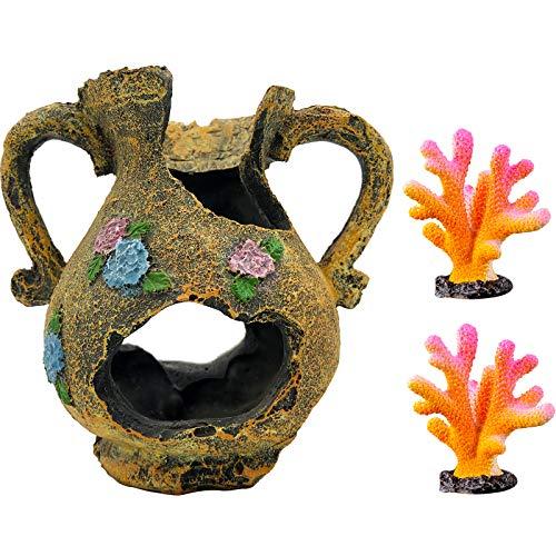 GSD Broken Vase Barrel Resin Betta Fish Tank Accessories Ornaments for Fish Cave Hide Tank Decorations, Retro Vase Barrel x 1pc, Colorful Coral Ornaments x 2pcs