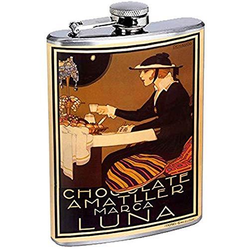 Perfektion In Der Art-Edelstahl-Flasche-Weinlese-Plakat D-100 Schokoladen-Amatller Marca Luna 7OZ