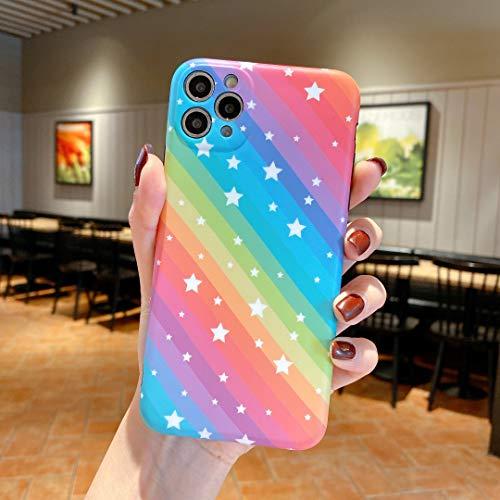 SevenPanda Kompatibel mit iPhone 7 Plus/iPhone 8 Plus Hülle Star für Frauen & Mädchen - Niedlicher Ultraschlanker Glatter Gelkautschuk Silikon Ganzkörperschutz Stoßfester IMD Hülle (Rainbow Stars)