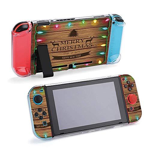 Fondo de madera con Navidad y vintage compatible con consola Nintendo Switch y funda protectora Joy-Con, duradero, flexible, absorción de golpes, antiarañazos, diseño 39611