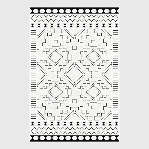Soft Fluffy Rug Modern Zwart-wit Geometrische het Cijfer Woonkamer Slaapkamer Keuken schapenvel Vloer Vloerbedekking Floor Decoration,150 * 200cm