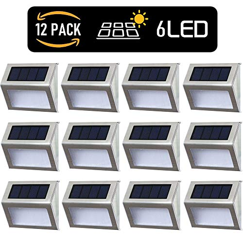 Solar Deck Lights Outdoor Solar Step Lights 6 LED Solar Stair Lights Stainless Steel Outdoor Solar Wall Lights Weatherproof Outdoor Auto On/Off Lighting for Steps Stairs Decks Garden 12 Pack