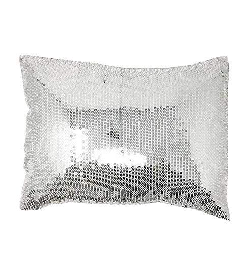 Lancashire Textiles Luxe Moderne Argent Paillettes Sparkle Boudoir 43 cm x 33 cm Housse de Coussin Uniquement