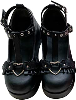 Womens Mary Jane Shoes for Women, Sweet Bow Round Toe Ankle T-Strap Lolita Goth Platform Dress Pumps Shoes Oxfords