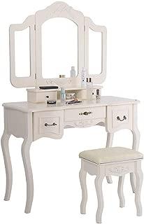 Polar Aurora Tri Folding Vintage Beige Mirror Makeup Dressing Table Cushioned Stool 5 Drawers