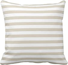 Emvency Throw Pillow Cover Modern Tan Beige White Stripes Decorative Pillow Case Striped Home Decor Square 18 x 18 Inch Cushion Pillowcase