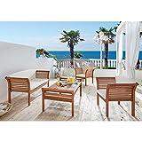 Pharao24 Loungemöbel Sitzgruppe Loungeset aus Eukalyptus Massivholz geölt