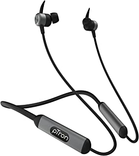 PTron Tangent Plus V2 Wireless Bluetooth In-Ear Headphone With Mic (Black and Grey)