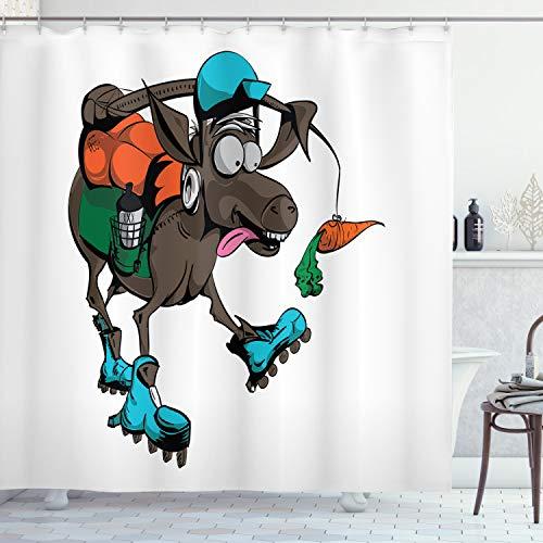 ABAKUHAUS Esel Duschvorhang, Lustiges Tier, das Karotte jagt, mit 12 Ringe Set Wasserdicht Stielvoll Modern Farbfest & Schimmel Resistent, 175x200 cm, Mehrfarbig