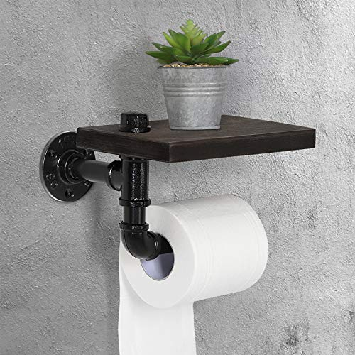 HAITRAL Pipe Toilet Paper Holder - Wall Mounted Tissue Holder for Bathroom, Washroom with Rustic Wooden Shelf and Cast Iron Pipe