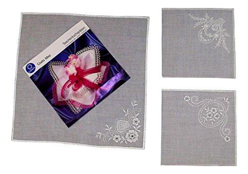 Karl Teichmann 3 Stück Anhäkeltaschentücher mit Stickerei-Ecke (gerader Rand)