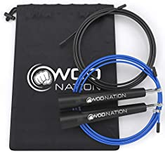 WOD Nation Speed Jump Rope - Blazing Fast Jumping Ropes - Endurance Workout for Boxing, MMA, Martial Arts or Just Staying Fit - Adjustable for Men, Women and Children