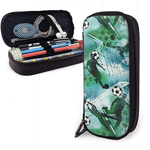Astuccio per penna a matita da calcio verde blu per calcio da ragazzo sportivo, custodia per trucco con portamatite di grande capacità