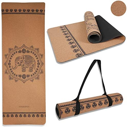 GYMBOPRO Cork Yoga Mat Eco Friendly Cork Natural Rubber Mat Household Thickened Non Slip Soft product image