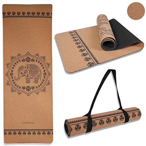 GYMBOPRO Cork Yoga Mat Eco Friendly Cork & Natural Rubber Mat Household Thickened Non-Slip Soft Durable Moisture Sweat Resistant no Wrinkles Mysterious Yoga mat for Men & Women Exercise